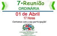 7ª REUNIÃO ORDINÁRIA DA CÂMARA MUNICIPAL SERÁ REALIZADA NESTA SEGUNDA-FEIRA (01)