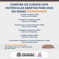 CONFIRA OS CURSOS COM MATRÍCULAS ABERTAS PARA 2021 NO SENAC COROMANDEL