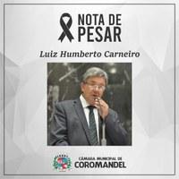 Nota de pesar – Morre deputado Luiz Humberto Carneiro